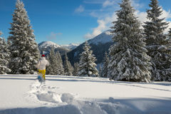 Woman, traveler running on snowshoes in the winter mountains Royalty Free Stock Photography