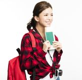 Woman traveler showing passport and ticket. Young Woman traveler showing passport and ticket Stock Images