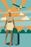 Woman traveler silhouette standing with baggage Royalty Free Stock Images