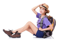 Woman Traveler Sitting On The Floor With Backpack Royalty Free Stock Images
