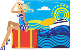 Woman traveler sitting on a suitcase on a colored background Royalty Free Stock Photo