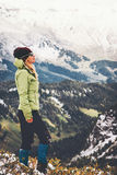 Woman Traveler standing alone on cliff Royalty Free Stock Photos