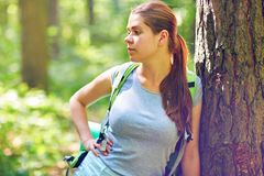 Woman traveler standing in forest near big tree. Stock Photo