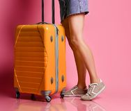 Woman traveler with suitcase on color background stock image