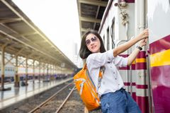 Woman traveler on train stock photography