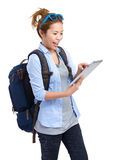 Woman traveler using tablet Royalty Free Stock Images