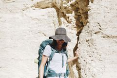 Woman traveling with backpack. Woman Royalty Free Stock Photos