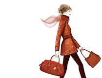 Woman traveling with bag Royalty Free Stock Images