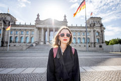 Woman traveling in Berlin Stock Photos