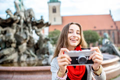 Woman traveling in Berlin Stock Photography