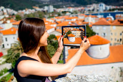 Woman traveling in Budva city Royalty Free Stock Images
