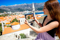 Woman traveling in Budva city Royalty Free Stock Photos