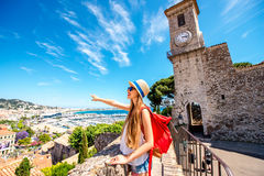 Woman traveling in Cannes Stock Photo