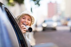 Woman traveling car Royalty Free Stock Photo