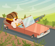 Woman traveling by car. Funny cartoon character. Stock Photos