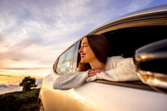 Woman traveling by car Stock Photo