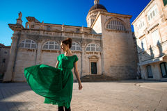 Woman traveling in Dubrovnik city Royalty Free Stock Image
