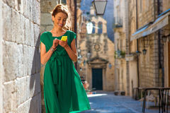Woman traveling in Dubrovnik city Royalty Free Stock Photo