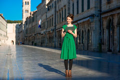 Woman traveling in Dubrovnik city Stock Photo