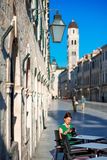 Woman traveling in Dubrovnik city Royalty Free Stock Photography