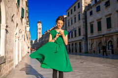 Woman traveling in Dubrovnik city Stock Image
