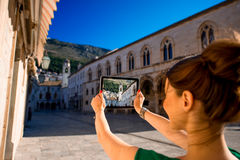Woman traveling in Dubrovnik city Stock Photography