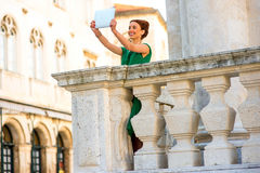 Woman traveling in Dubrovnik city Stock Images