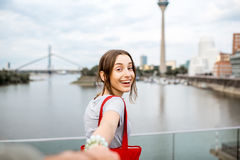 Woman traveling in Dusseldorf city Stock Photo