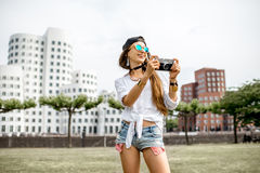 Woman traveling in Dusseldorf city Stock Images