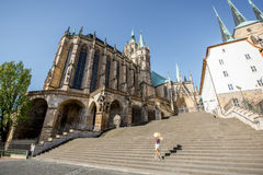 Woman traveling in Erfurt city, Germany. Morning view on the Mary Domberg cathedral with woman tourist in Erfurt city, Germany Royalty Free Stock Photos
