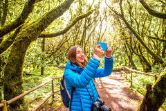 Woman traveling evergreen forest Stock Photo