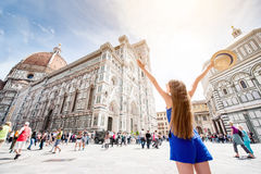 Woman traveling in Florence city Stock Photography
