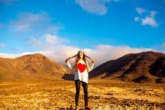 Woman traveling Fuerteventura island Stock Photos