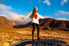 Woman traveling Fuerteventura island Royalty Free Stock Photo