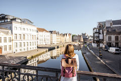 Woman traveling in Gent old town, Belgium Royalty Free Stock Photography