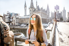 Woman traveling in Gent old town, Belgium Royalty Free Stock Images