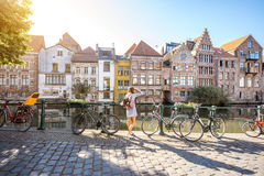 Woman traveling in Gent old town, Belgium Stock Photography