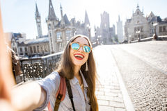 Woman traveling in Gent old town, Belgium Stock Photos