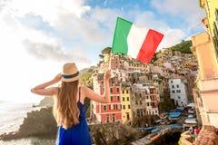 Woman traveling italian coastal town Royalty Free Stock Image