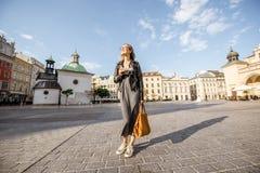 Woman traveling in Krakow Stock Photo