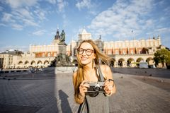 Woman traveling in Krakow Stock Image