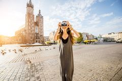 Woman traveling in Krakow Stock Photography