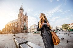 Woman traveling in Krakow Royalty Free Stock Photos