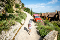 Woman traveling in La Roque Gageac village, France Royalty Free Stock Image
