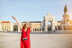 Woman traveling in Lisbon, Portugal stock image