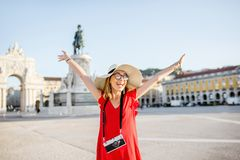 Woman traveling in Lisbon, Portugal royalty free stock photography
