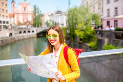 Woman traveling in Ljubljana, Slovenia Royalty Free Stock Image