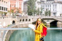 Woman traveling in Ljubljana, Slovenia Royalty Free Stock Images
