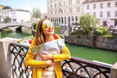 Woman traveling in Ljubljana, Slovenia Royalty Free Stock Photography