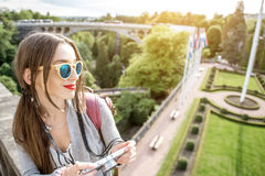 Woman traveling in Luxembourg Royalty Free Stock Photos